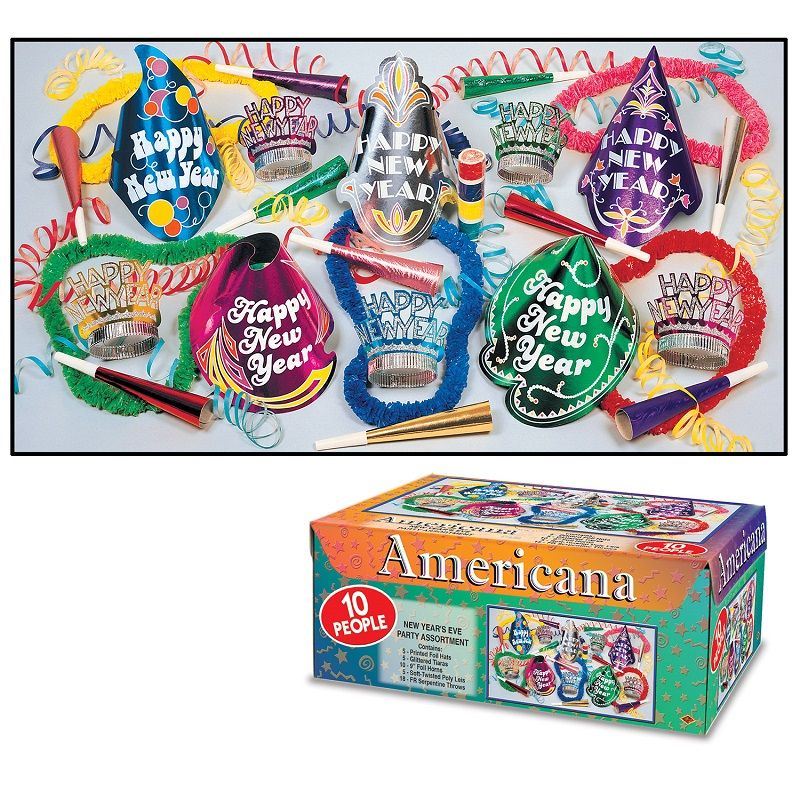 Americana Asst for 10 Americana Assortment, party favors, hats, horns, leis, tiaras, new years eve, multi-color, wholesale, inexpensive, bulk