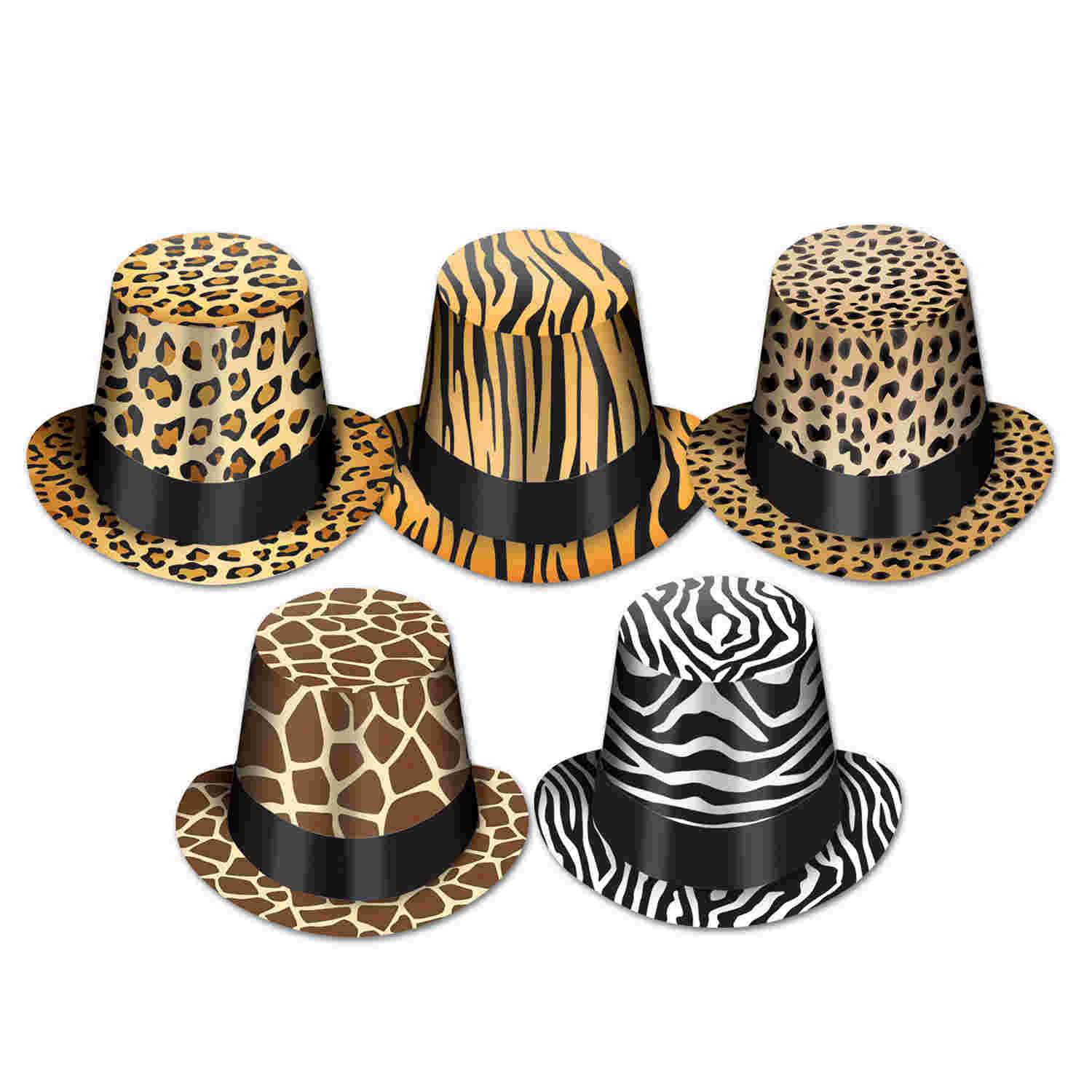 party hats with jungle printed designs on the such as zebra print and leopard print