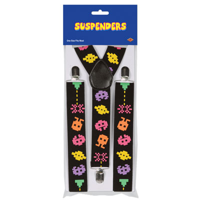 Arcade icon printed suspenders with adjustable straps.