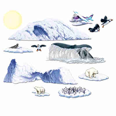 Arctic Cruise Props of seagulls, polar bears, penguins, ice glaciers and more on thin plastic material.