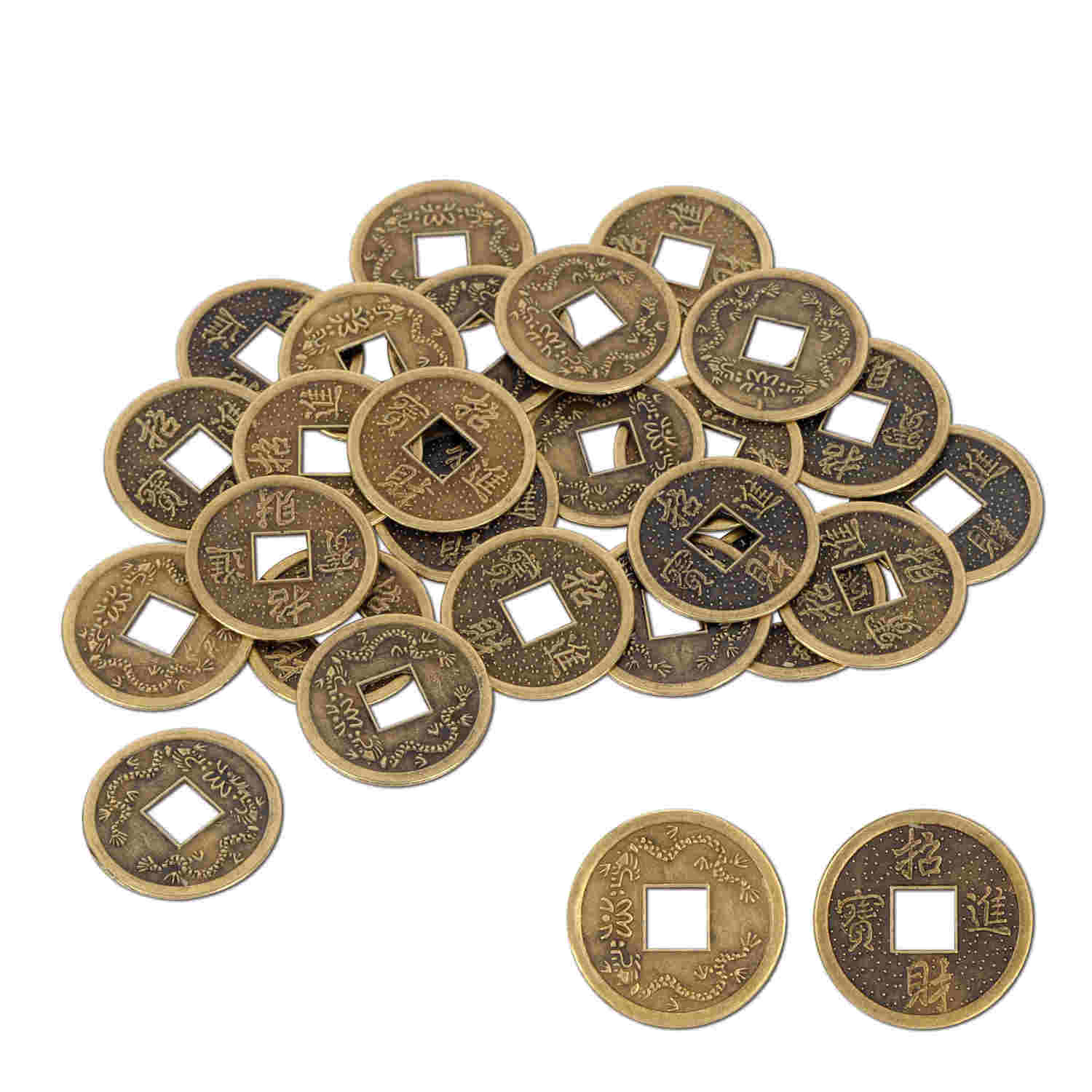 gold coins with a square hole in the middle with Chinese writing on them