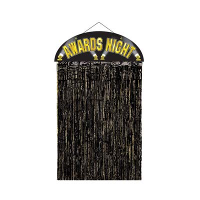 Door curtain that shouts Awards Night in gold at the top with metallic black strands to walk through.
