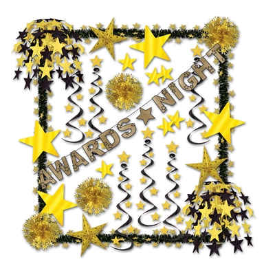 black and gold decorating kit with an awards night theme