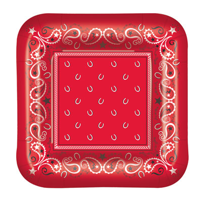 Red Bandana Plates for a country themed party
