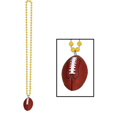 Gold small round beads with football medallion attached.