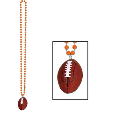 Orange small round beads with football medallion attached.
