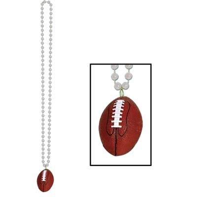 Silver small round beads with football medallion attached.
