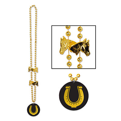 Small round gold beads with a horseshoe medallion attached and golden horse head beads.