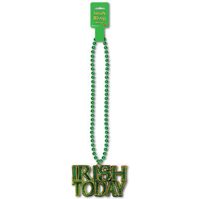 Green Beads with Irish Today Medallion