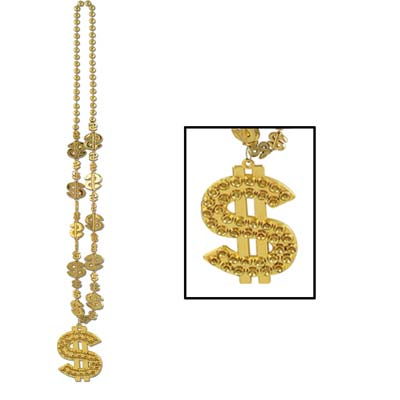 "Gold round beads with dollar sign molded beads with a medallion sized ""$""."