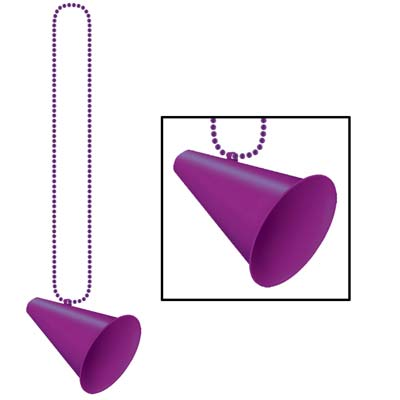 Purple plastic small round bead necklace with purple megaphone medallion attached.
