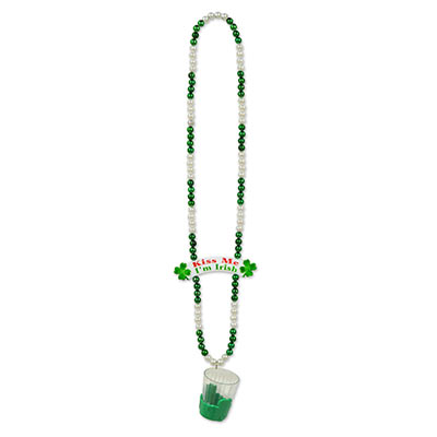 Green and White Beads w/ Shot Glass and Banner Bead