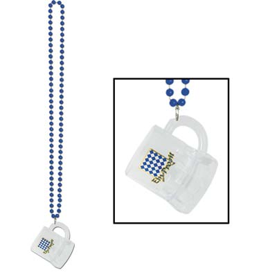 Small plastic round bead necklace with mug attached displaying an Oktoberfest design.