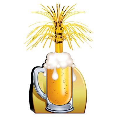 Beer Mug Centerpieces has a card stock bottom with a printed beer mug including a gold cascade at the top.