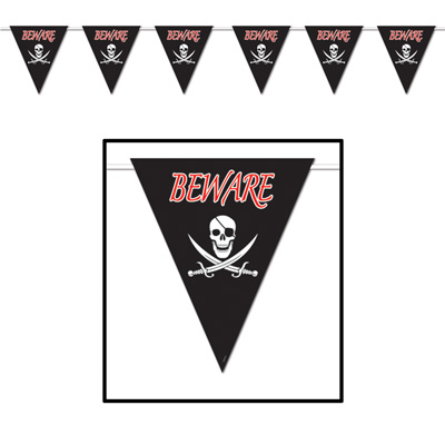 "Black pennant banner with printed skull, swords and ""Beware""."