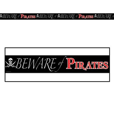 Black Beware Of Pirates Party Tape with White and Red Lettering