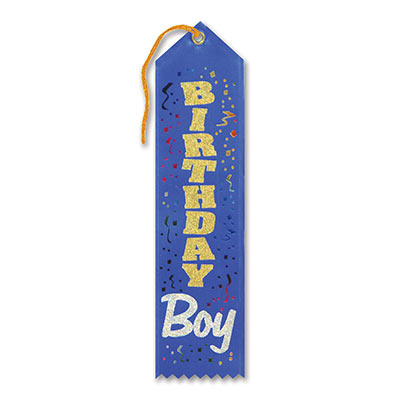 Birthday Boy Award Blue Ribbon with gold and silver lettering and Multi colored streamers