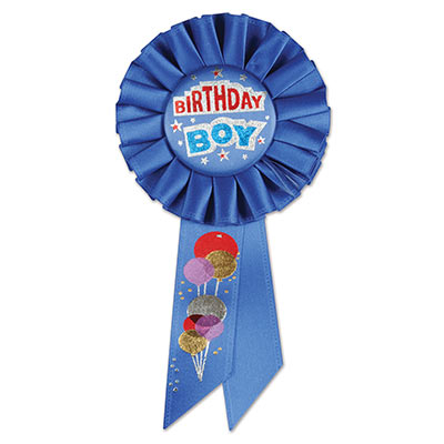 Birthday Boy Blue Rosette with red and blue lettering outlined in silver and balloon designs
