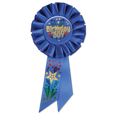 Birthday Boy Blue Rosette with bold gold metallic lettering and multi color shooting star
