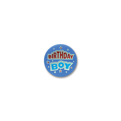 Birthday Boy Satin Blue Button with bold red and blue lettering and star designs