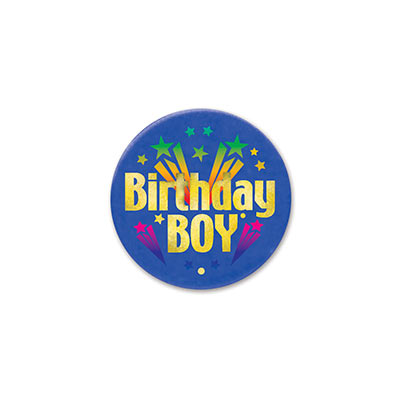 Birthday Boy Satin Blue Button with gold lettering and colorful shooting star designs