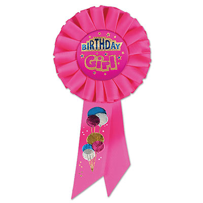 Birthday Girl Pink Rosette pink and blue lettering outlined in gold with balloon and star designs