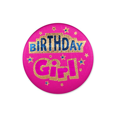 Birthday Girl Satin Pink Button with blue and pink lettering outlined in gold and star designs