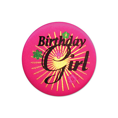 Birthday Girl Satin Pink Button with black lettering and gold burst with flower designs
