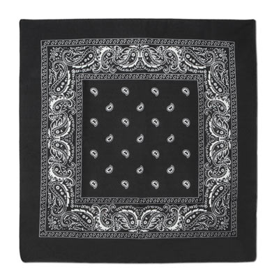 Traditional black bandana with white print.
