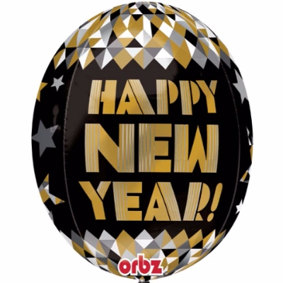 Black & Gold Happy New Year Orb Balloon