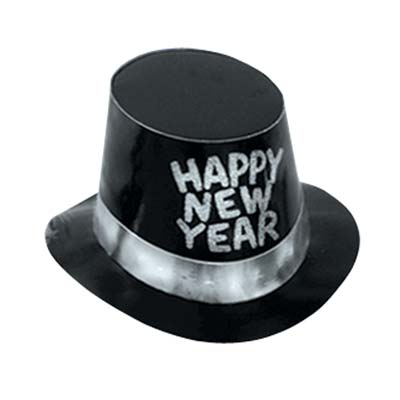 Black and silver happy new year hat
