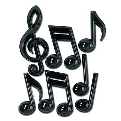 Black Plastic Musical Notes wall decorations