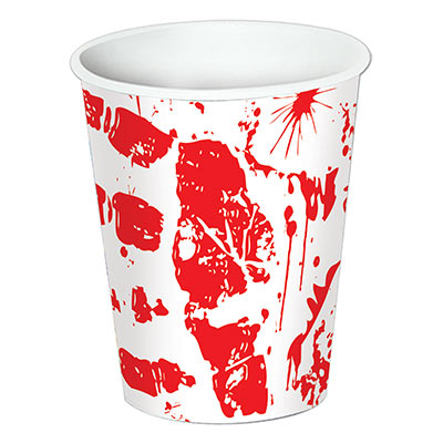 Bloody Handprints Cups (Pack of 96) Bloody, blood, handprints, cups, halloweem crime scene, murder