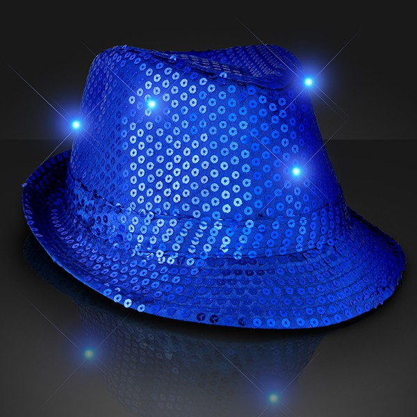Blue Light Up Fedoras (Pack of 6) Wholesale Party Supplies, Inexpensive party favors, New Years Eve, Blue, Fedoras, Party Hats, Sequined Hats, Glow in the Dark, Bulk packs, Favors, Sparkling, Party Goods