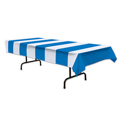 Blue & White Stripes Tablecover printed on thin plastic material.