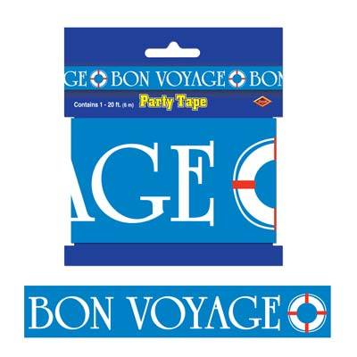 Blue Bon Voyage Party Tape with White Lettering