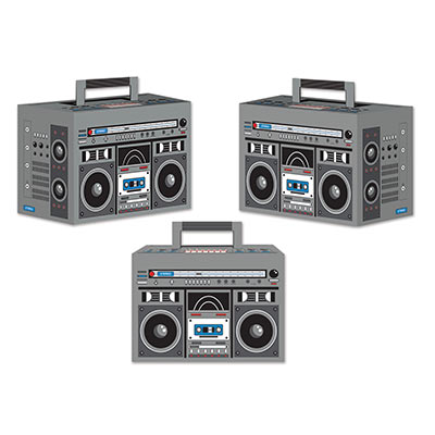 Boom Box Favor Boxes printed to replicate an 80s boombox.