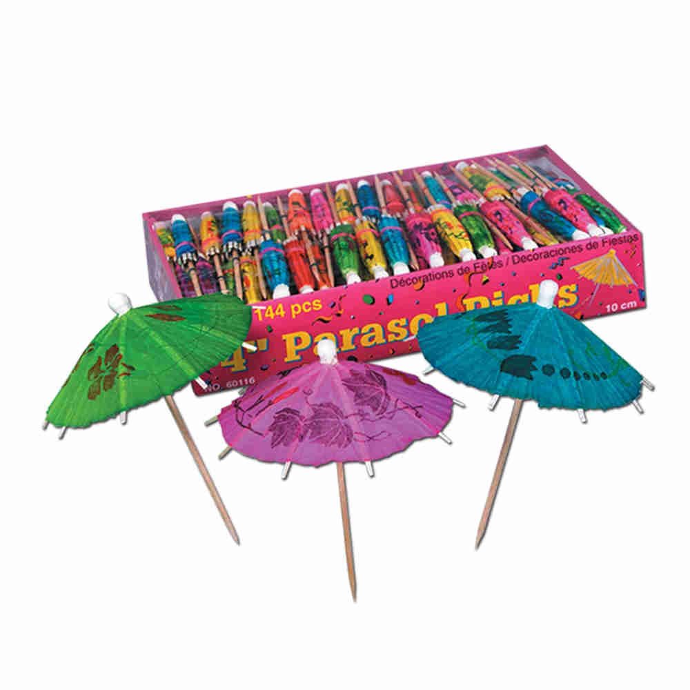 Wooden stick material with a colorful paper umbrella.