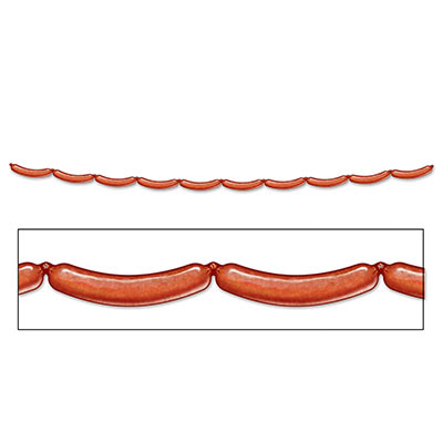The Bratwurst Streamer is designed to look like a bunch of bratwursts attached in a row.