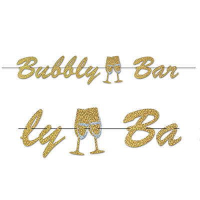 "Gold glittered streamer that reads ""Bubbly Bar"" in card stock material and includes two champagne glasses clinking together."
