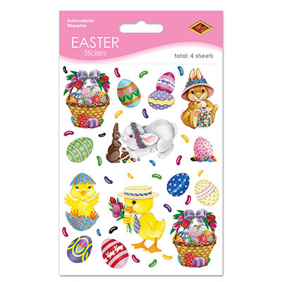 Plastic clings with printed designs of Easter eggs, chicks, bunnies and Easter baskets.