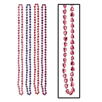 Candy Heart Beads in red and purple for Valentines Day