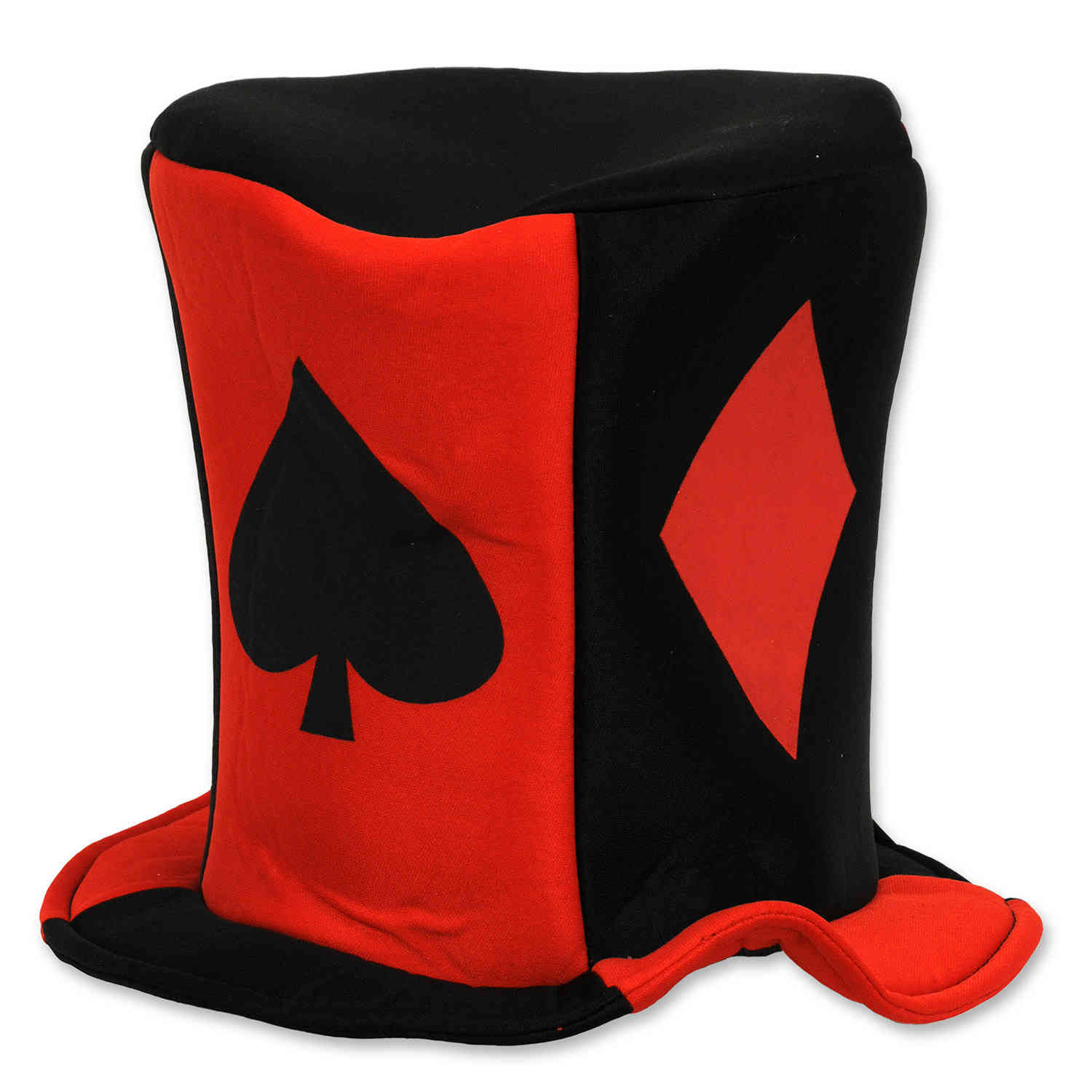 large fabric hat with playing card suit designs