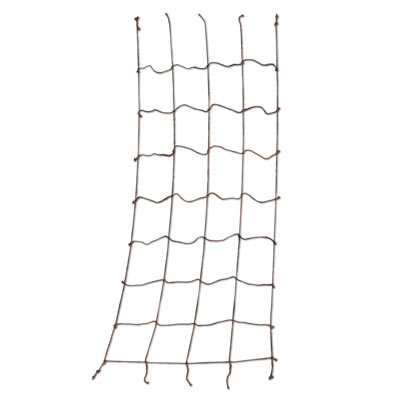 Black rope material cargo net for a nautical party.
