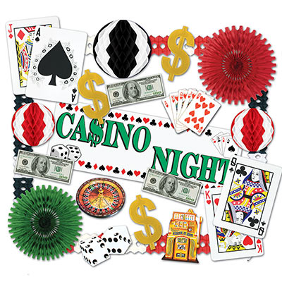 large decorating kit for casino themed party that comes with casino banners, dollar signs, and playing card decorations
