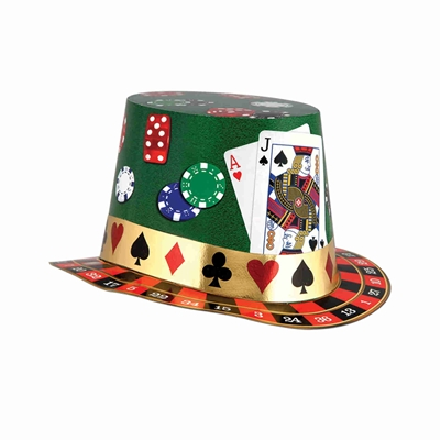 party hat with playing cards, poker chips, and dice printed on it in the theme of a casino party