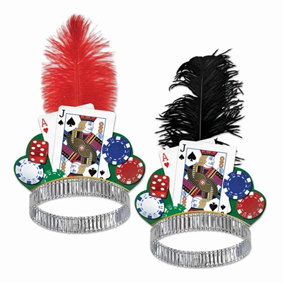 tiaras with playing cards and poker chips on them with a real ostrich plume attached in the design of a casino night party theme