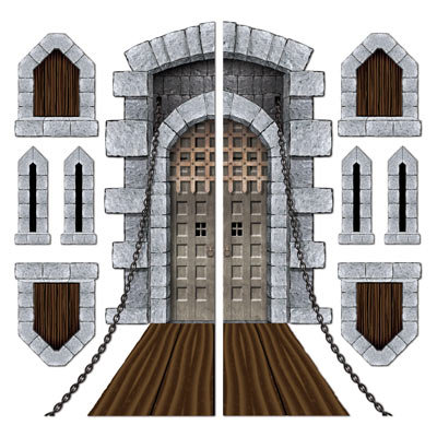 Castle Door & Window Props printed on thin plastic material.