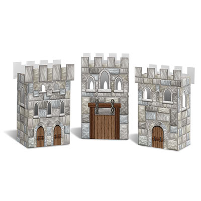 Castle Favor Boxes designed to replicate castles from the medieval era.