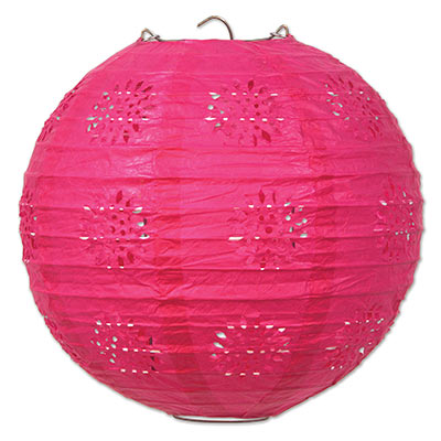 Lace patterned paper lantern that is cerise in color.